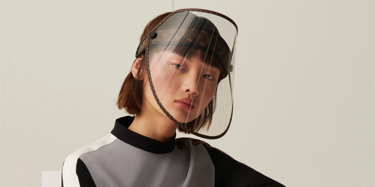 Besides the gold detailing, Louis Vuitton's photochromatic face mask also transitions from clear to dark, blocking UV rays when exposed to sunlight.